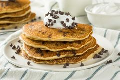 Homemade Chocolate Chip Pancakes. With Whipped Cream stock photo