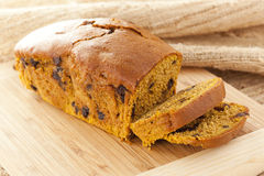 Homemade Chocolate Chip Pumpkin Bread. Fresh Homemade Chocolate Chip Pumpkin Bread ready to eat royalty free stock images