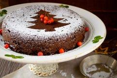 Homemade chocolate Christmas cake sprinkled with sugar powder Stock Photography