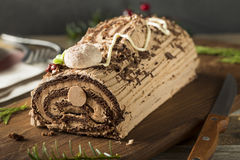 Homemade Chocolate Christmas Yule Log Stock Photos