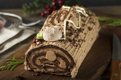 Homemade Chocolate Christmas Yule Log Royalty Free Stock Photos