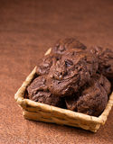 Homemade chocolate cookies in basket Stock Photo