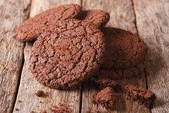 Homemade Chocolate Cookies Close-up On The Table. Horizontal Stock Photos