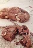 Homemade chocolate cookies with hazelnuts and pieces of chocolat Royalty Free Stock Image