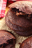 Homemade chocolate cookies. Stack of home made chocolate biscuits with caramel filling Stock Images
