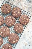 Homemade chocolate cookies with walnuts and chocolate chips on cooling rack, vertical, top view, copy space Royalty Free Stock Image