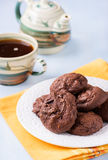 Homemade chocolate cookies on white plate Royalty Free Stock Photos