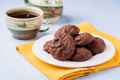 Homemade chocolate cookies on white plate Stock Images