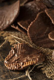 Homemade Chocolate Covered Potato Chips. On a Background stock photography