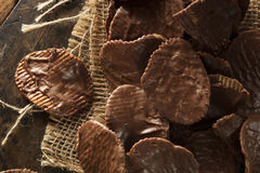 Homemade Chocolate Covered Potato Chips. On a Background royalty free stock photography