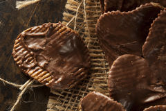 Homemade Chocolate Covered Potato Chips Stock Image
