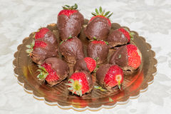 Homemade Chocolate Covered Strawberries for Valentine's Day Stock Images