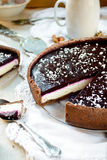 Homemade chocolate cream tart with blackberry jelly and walnuts Stock Photos