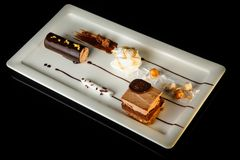 Homemade chocolate creamy dessert on rectangle plate. Homemade chocolate and white cream mousse dessert served on rectangle restaurant plate on black background royalty free stock images
