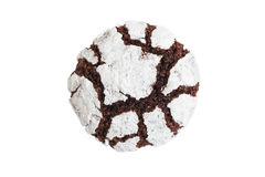 Homemade chocolate crinkle cookie powdered sugar. Closeup homemade chocolate crinkle isolated on white. Chocolate cookie powdered sugar. Top view Royalty Free Stock Images