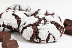 Homemade chocolate crinkles cookies powdered sugar Royalty Free Stock Photography