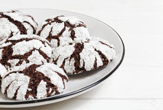 Homemade chocolate crinkles cookies powdered sugar Royalty Free Stock Photo