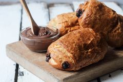 Homemade chocolate croissant Royalty Free Stock Photography