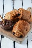 Homemade chocolate croissant Royalty Free Stock Photos