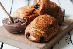 Homemade chocolate croissant Royalty Free Stock Photo