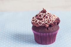 Homemade chocolate cupcake on blue polka dot background Stock Photography