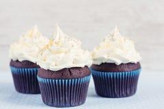 Homemade chocolate cupcake with white cream Stock Image