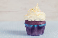 Homemade chocolate cupcake with white cream Stock Photography