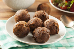 Homemade Chocolate Donut Holes. With Sugar for Breakfast Stock Photo