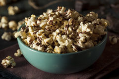 Homemade Chocolate Drizzled Caramel Popcorn. Ready to Eat Stock Image