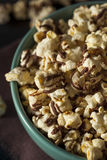 Homemade Chocolate Drizzled Caramel Popcorn. Ready to Eat Royalty Free Stock Photo