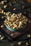 Homemade Chocolate Drizzled Caramel Popcorn. Ready to Eat Royalty Free Stock Photography