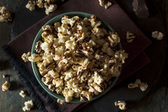 Homemade Chocolate Drizzled Caramel Popcorn. Ready to Eat Stock Photos
