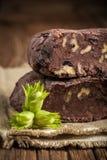 Homemade chocolate with fresh hazelnuts Royalty Free Stock Photos