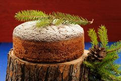 Homemade chocolate fruit christmas cake on wooden split with gre Royalty Free Stock Image