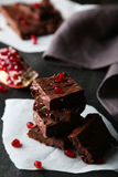 Homemade chocolate fudge with the pomegranate Stock Images