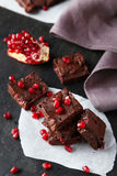 Homemade chocolate fudge with the pomegranate Royalty Free Stock Photo