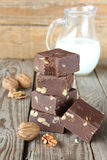 Chocolate fudge with walnuts Royalty Free Stock Images