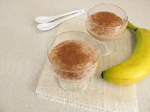 Homemade chocolate ice cream with frozen bananas and cocoa Royalty Free Stock Images