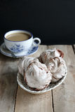 Homemade chocolate meringues Stock Photos