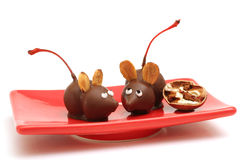 Homemade chocolate mice. Shot of homemade chocolate mice with cherries & nuts Royalty Free Stock Photo