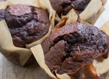 Homemade chocolate muffins in brown tulip muffin cases stock image