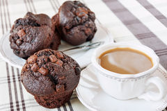 Homemade chocolate muffins/buns with cup of coffee. Indoors stil Royalty Free Stock Images