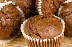 Homemade chocolate muffins. Closeup take of some homemade chocolate muffins Royalty Free Stock Images