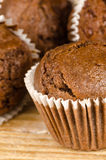 Homemade chocolate muffins. Closeup take of some homemade chocolate muffins Royalty Free Stock Photos