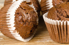 Homemade chocolate muffins. Closeup take of some homemade chocolate muffins Stock Photography