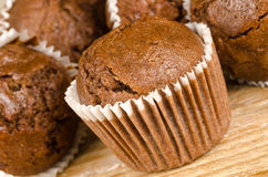 Homemade chocolate muffins. Closeup take of some homemade chocolate muffins Stock Image