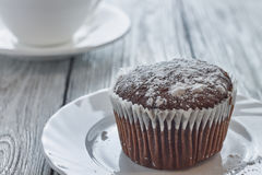 Homemade chocolate muffins with powdered sugar and coffee Royalty Free Stock Photography