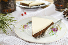 Homemade chocolate pie with cream cheese Royalty Free Stock Photos