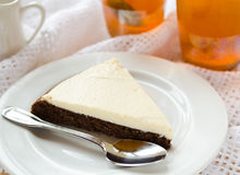 Homemade chocolate pie with cream cheese Stock Photography
