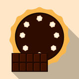 Homemade chocolate pie. Flat vector illustration isolated on the background.  Royalty Free Stock Image